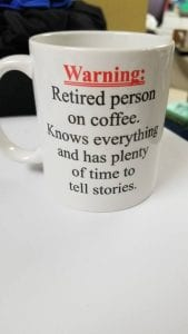 retired person coffee mug